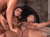 Sexy cougar taking dick in her shaved snatch