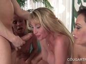 Teen stud fucked by three slutty cougars