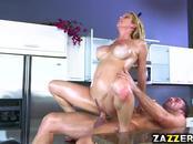 Alexis Castle slurps Johnny Castles big cock lubing up
