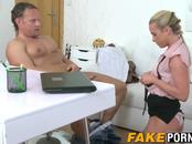 Hot blonde agent with small tits getting pussy pounded hard