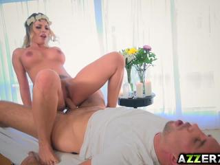 Busty blonde Britney Amber fucks with the masseur