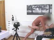 Big fake tits blonde fucks in casting