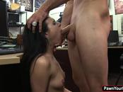 Slutty looking chick Kallie Joe blows cock for cash
