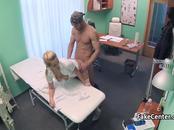 Blonde doctors pussy solves penis problem