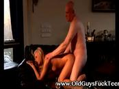 European babe gets pounded on cock from old guy on couch