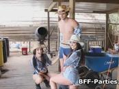 Three cowgirls sharing dick at farm