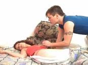 Sleeping Brunette Babe Toyed At Bed