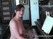 College temptress flashing big tits and ass