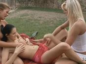 3 Cute Chicks Pleasure Each Other Outside