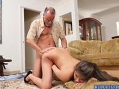 Hot neighbor Jeleana Marie fucked by dirty old men