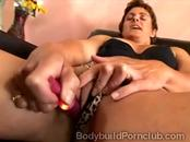 Horny mature bodybuilder masturbates with a little vibrator
