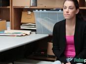 Shy brunette teen girlfriend sucking boyfriend large dick in his office