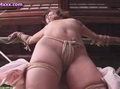 Roped up japanese chick gets touched