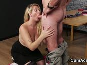 Spicy model gets cum load on her face swallowing all the cum