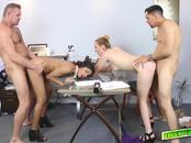 Daddys starts pounding those sweet pussies with their mature cocks