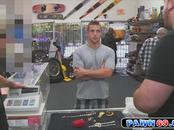 Blonde hunk dude sells his jewelry and tight ass in a pawn shop