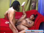 Pretty pregnant Black amateur Cookie shagged by huge cock