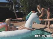 Dude fucks four teens by pool