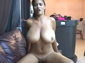 Busty ebony sticks black dick down throat & vagina