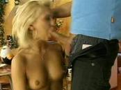 Hot blonde jams staff in throat