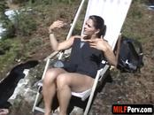 Awesome Brunette MILF Fucked Hard Outdoors