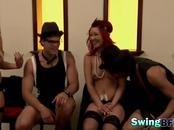 Redhead whore performs live sex show with naughty friends