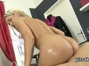 Lovesome nympho is geeting peed on and ejaculates wet kitty