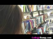 Brunette Doggsytyle And Cumshot In College Library
