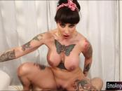 Giant boobs Dollie Darko tattooed woman gets her anal rammed
